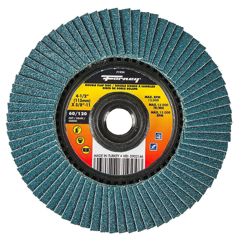 Forney Industries 4-1/2 inch Double-Sided Flap Disc, 60/120 Grits