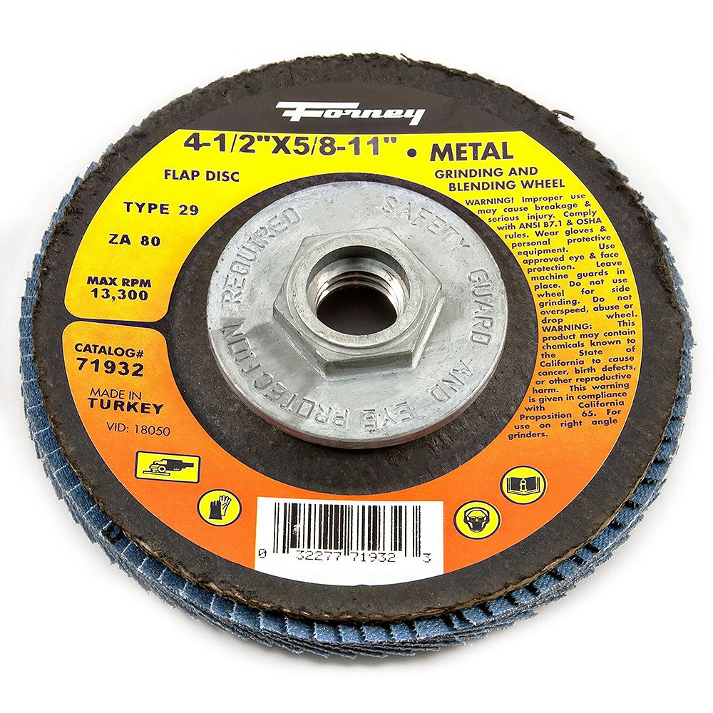 Forney Industries Flap Disc, Type 29, 4-1/2 inch x 5/8 inch-11, ZA80