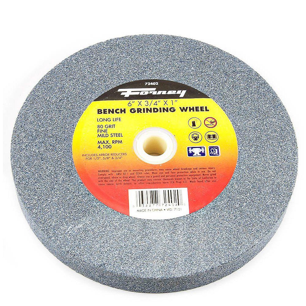 Forney Industries Bench Grinding Wheel, 6 inch x 3/4 inch x 1 inch
