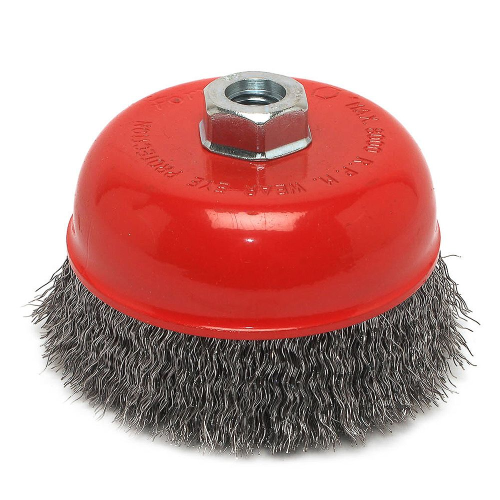 Forney Industries Cup Brush Crimped, 5 inch x .014 inch x 5/8 inch-11 Arbor