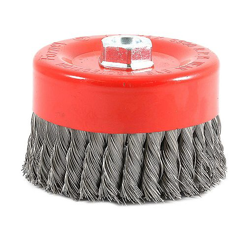 Forney Industries Cup Brush Knotted, 6 inch x .020 inch x 5/8 inch-11 Arbor