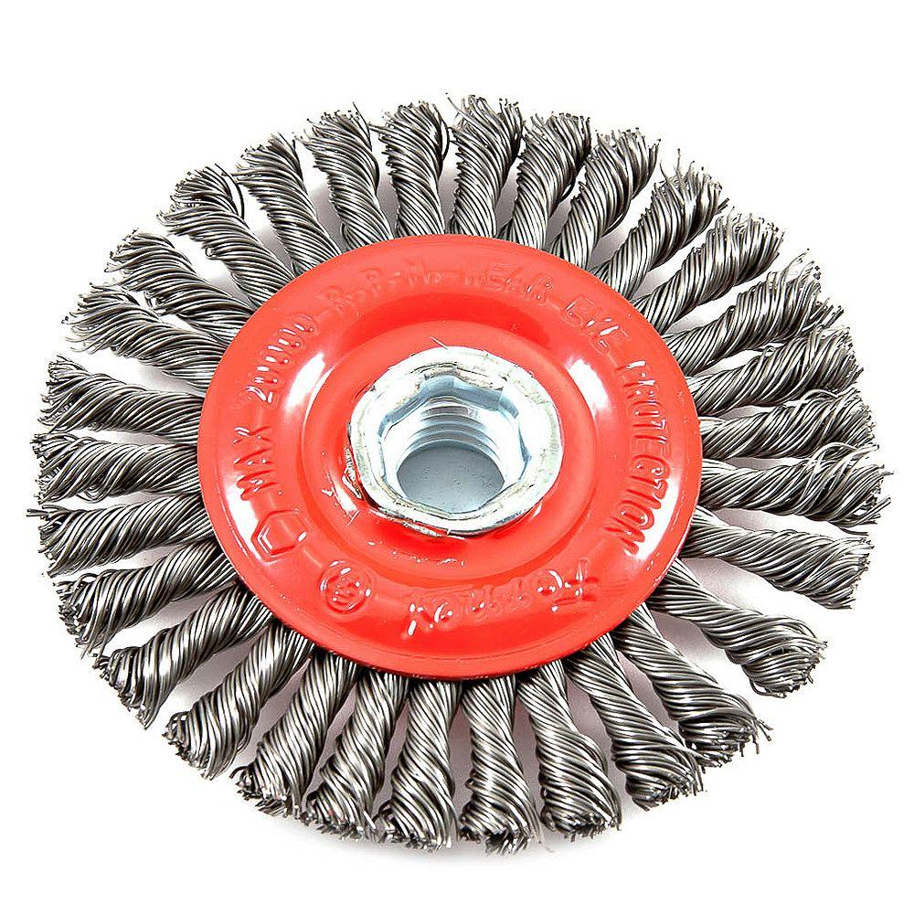 Forney Industries Wire Wheel Brush, Stringer Bead, 4 inch x .020 inch x 5/8 inch-11 Arbor