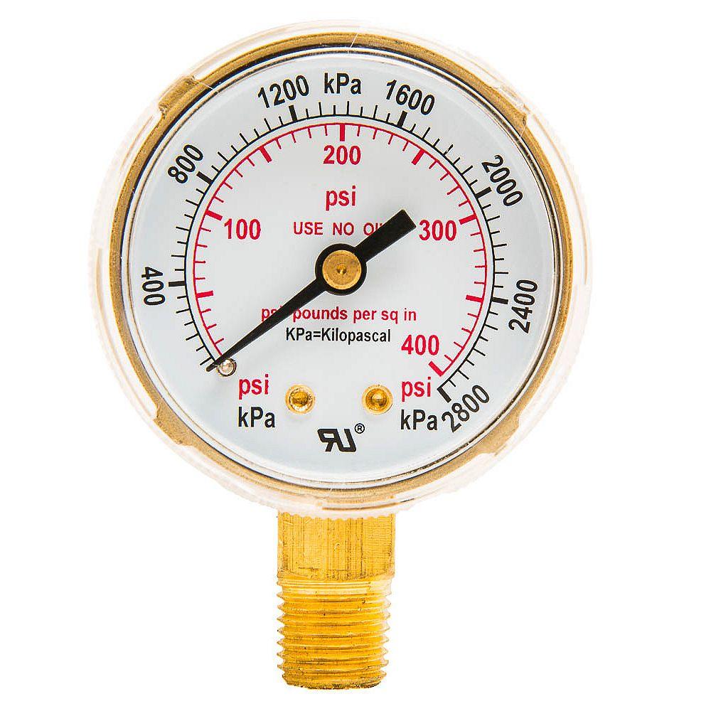 Forney Industries Regulator Gauge, 2 inch, 0-400 PSI