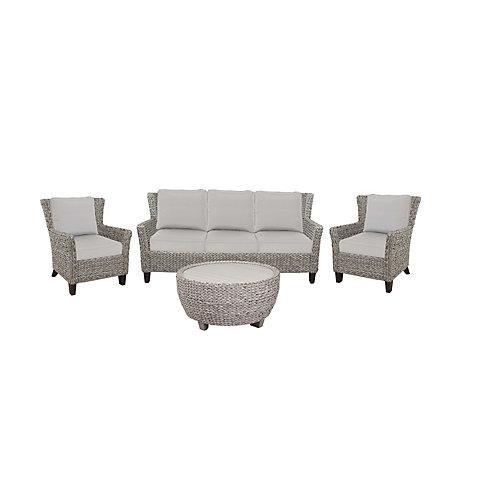 Megan Gray Seagrass Wicker 4-Piece Sofa Set
