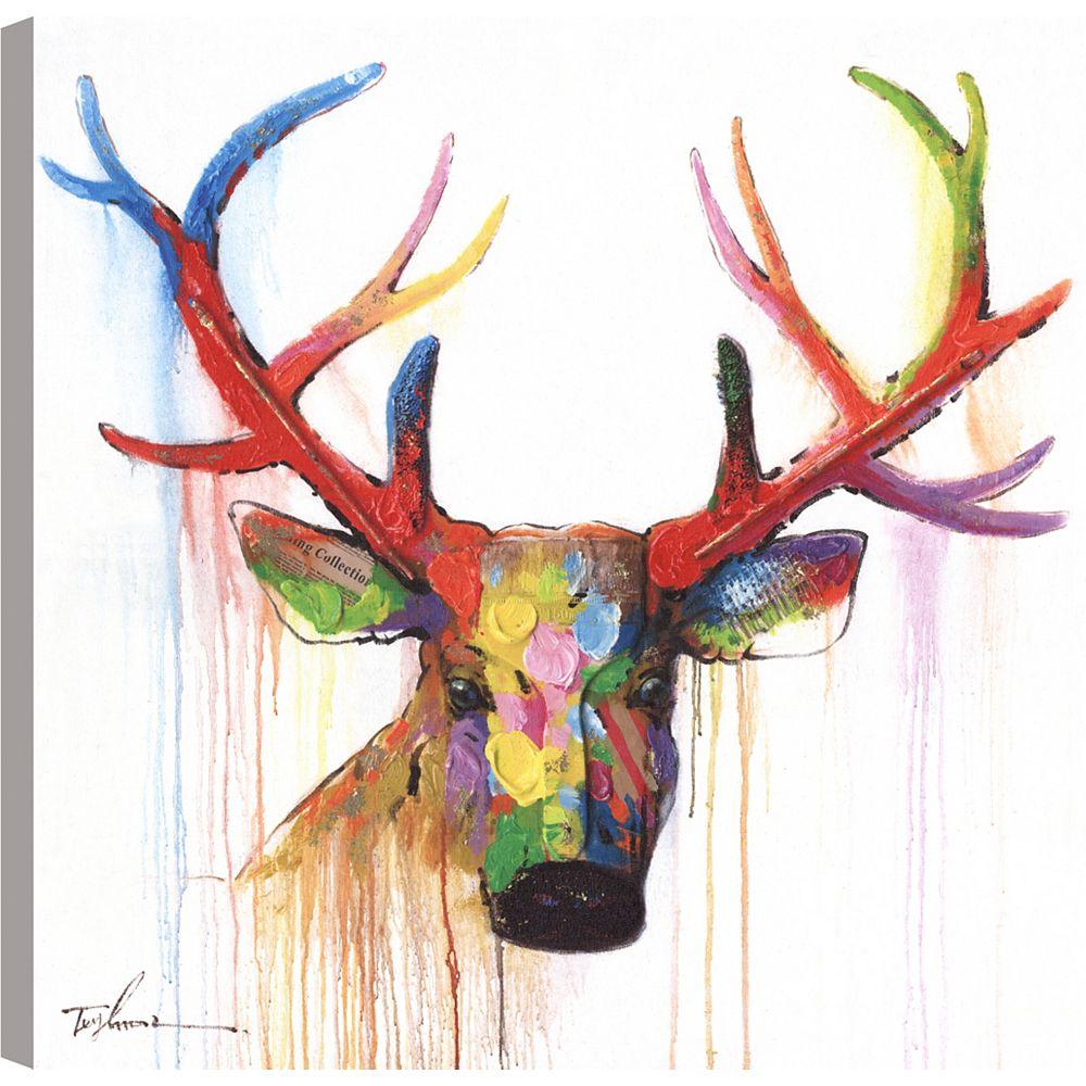 Art Maison Canada Tête de cerf, Animal Art, Décor toile impression murale Art 24 X 24 prêt à accrocher