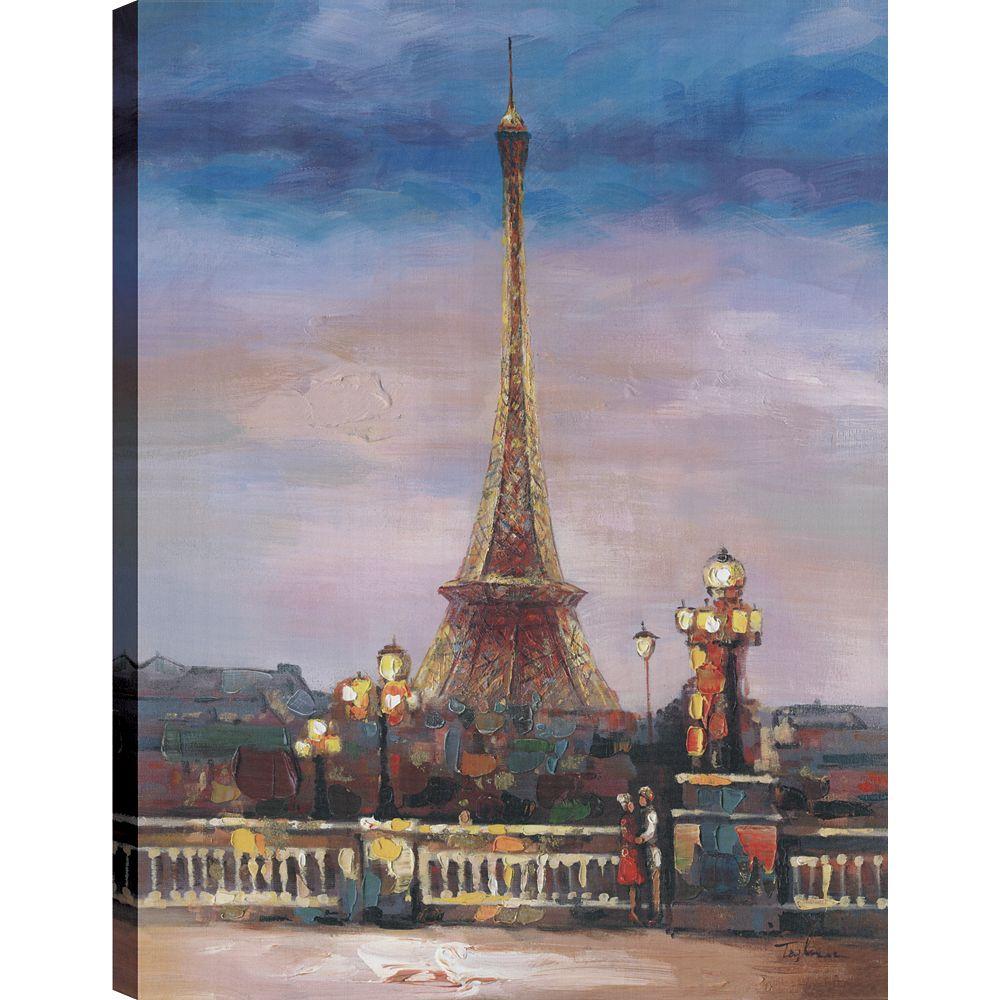 Art Maison Canada Paris Love, Landscape Art, Canvas Print Wall Art Décor 40X30 Ready to hang