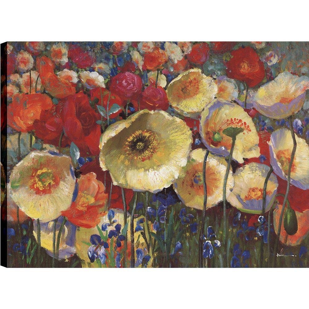 Art Maison Canada IV de pavot floral, Art Floral, Décor toile impression murale Art 30 X 40 prêts à accrocher