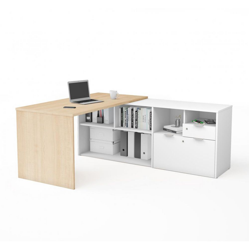 Bestar i3 Plus L-Desk with Two Drawers in Northern Maple and White