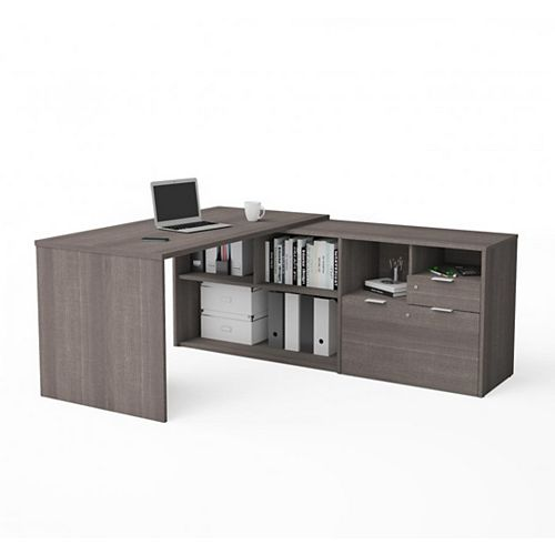 Bestar i3 Plus L-Desk with Two Drawers in Bark Gray