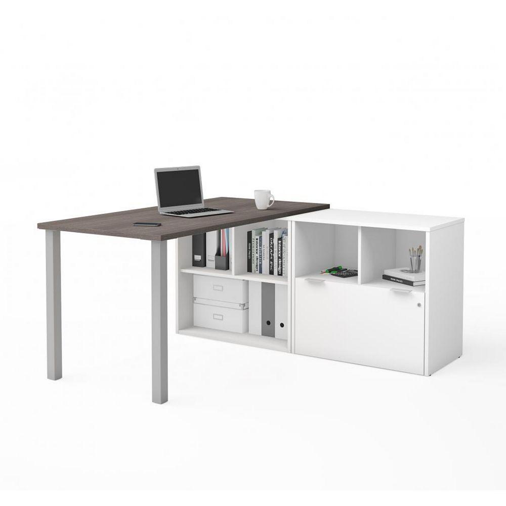 Bestar i3 Plus Bureau en L avec un tiroir classeur - Gris Écorce et Blanc