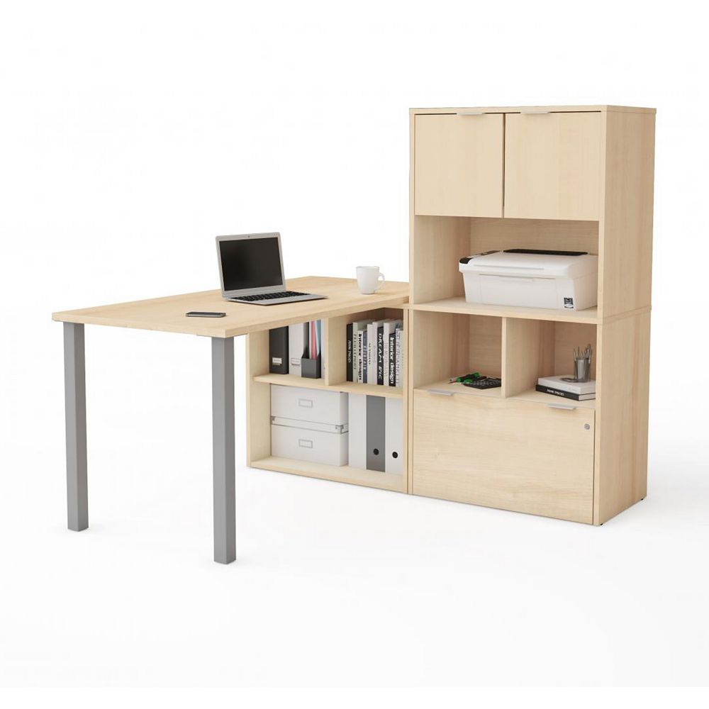 Bestar i3 Plus L-Desk with Hutch in Northern Maple
