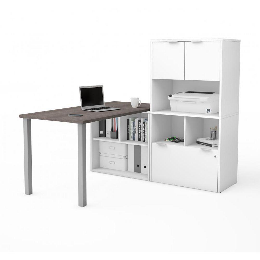Bestar i3 Plus L-Desk with Hutch in Bark Gray & White