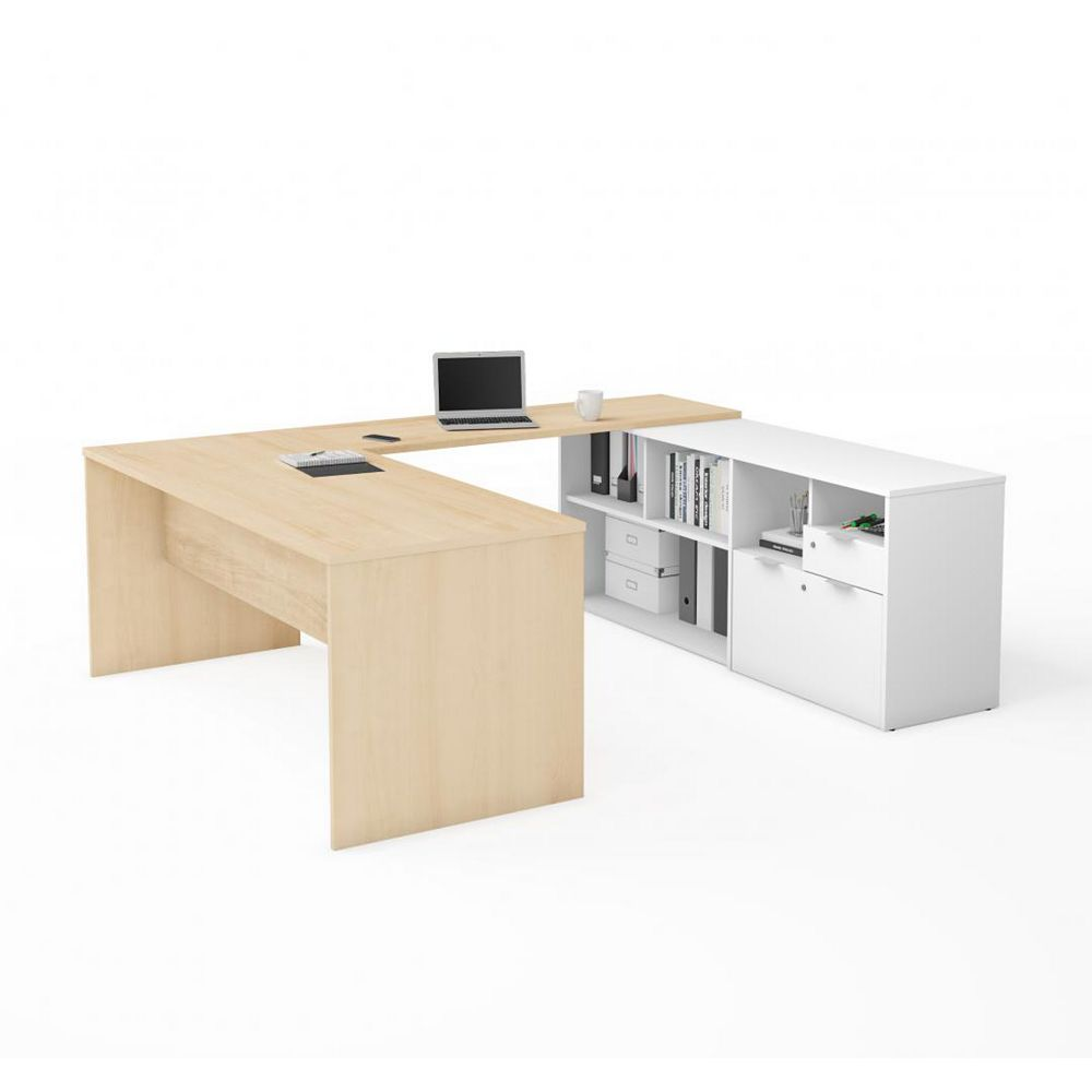 Bestar i3 Plus U-Desk with Two Drawers in Northern Maple & White