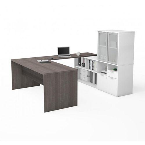 Bestar i3 Plus Bureau en U et huche avec porte en verre givré - Gris Écorce et Blanc