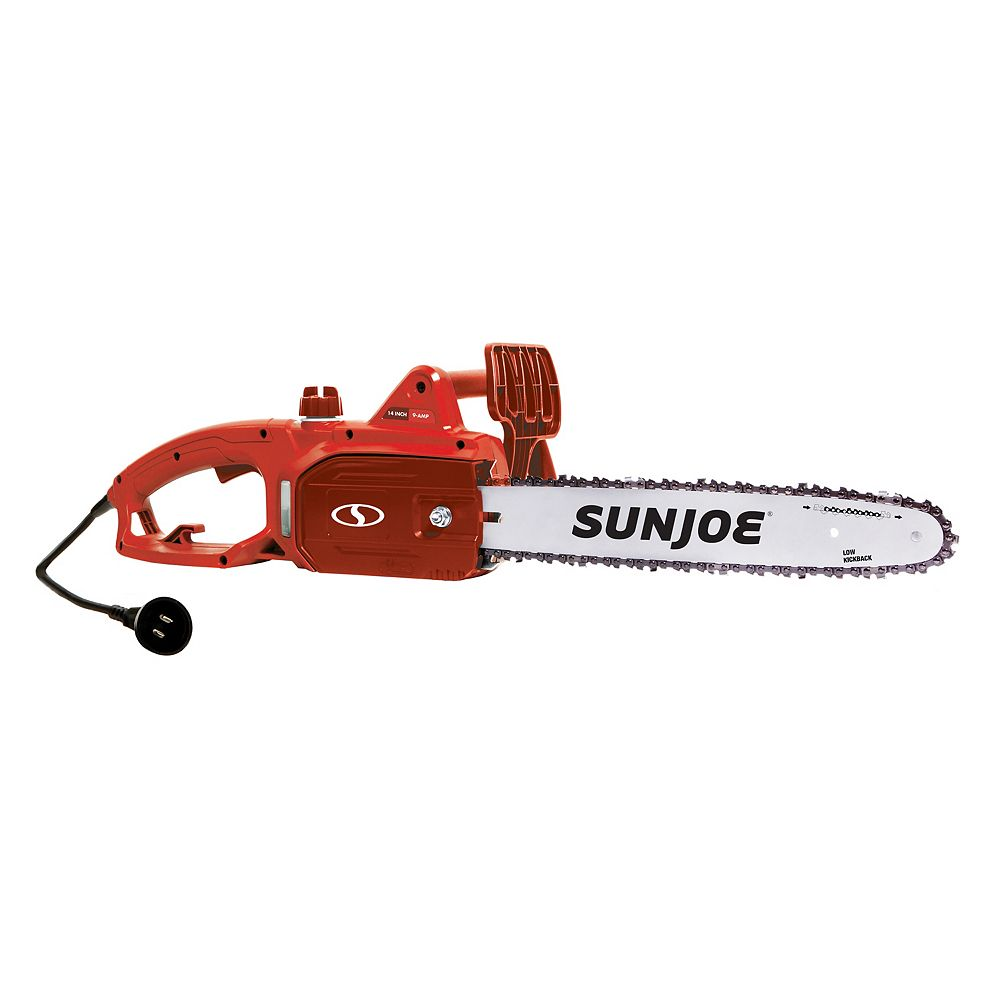 Sun Joe 14-inch 9.0 Amp Electric Chainsaw in Red