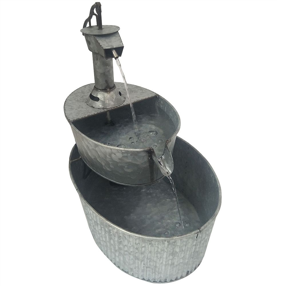 Angelo Décor 17-inch Metal Well Fountain, Weathered Finish, with Pump
