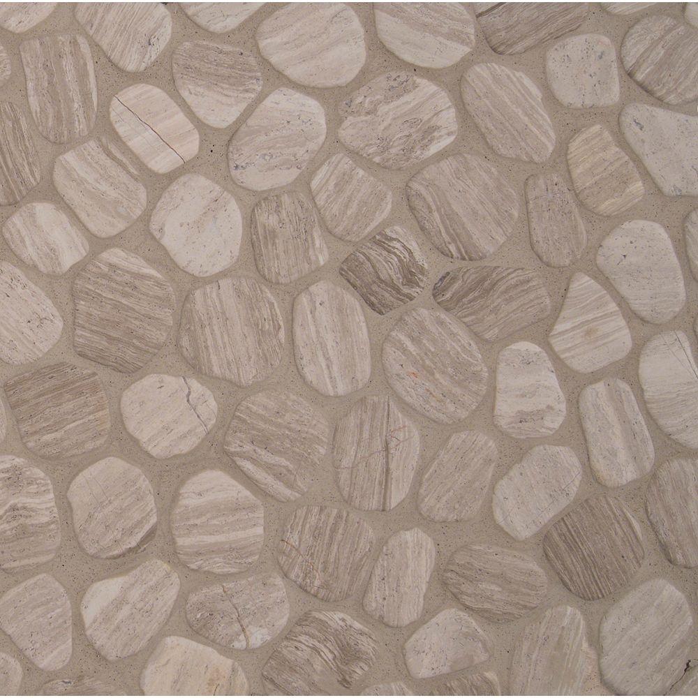 MSI Stone ULC White Oak 11.42-inch x 11.42-inch Tumbled Marble Mesh-Mounted Mosaic Tile