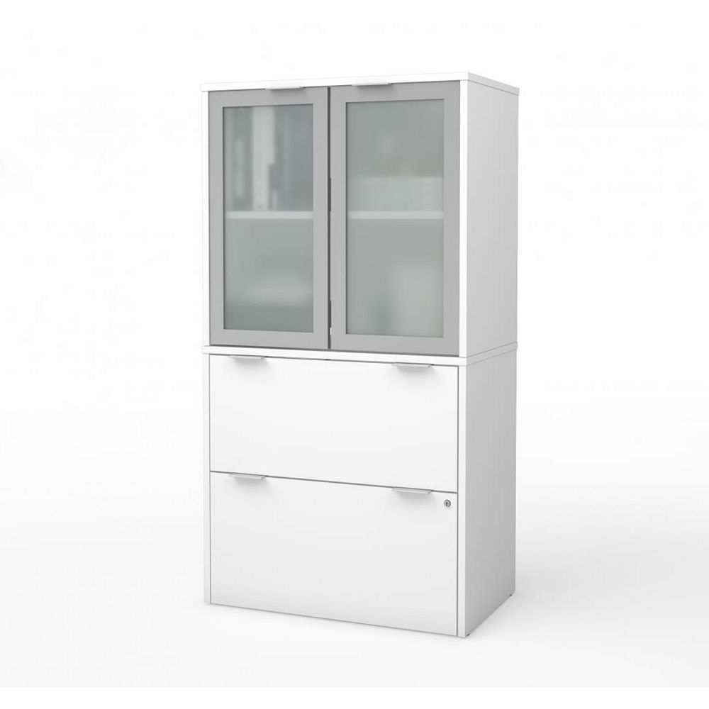 Bestar i3 Plus Lateral File with Storage Cabinet in White