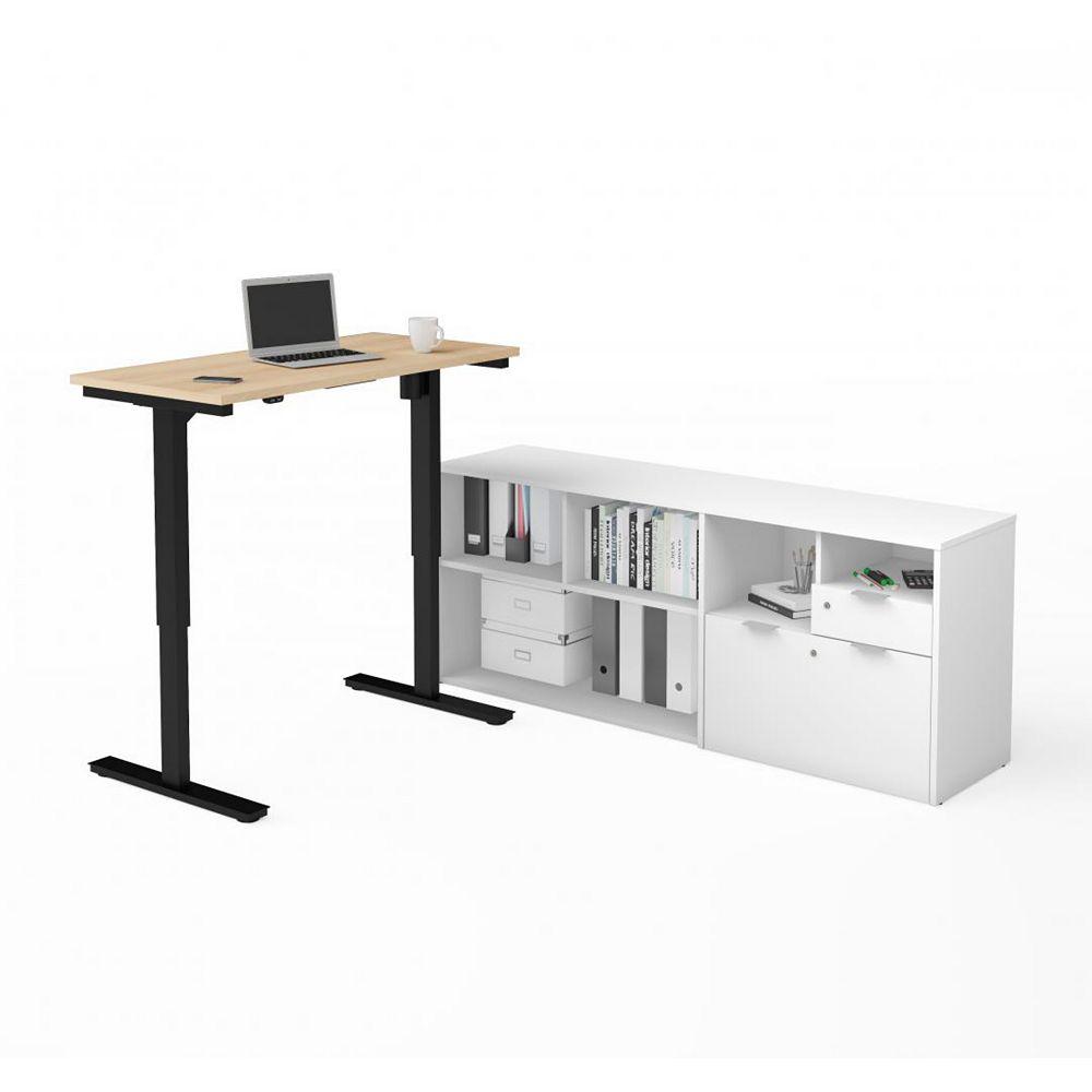 Bestar i3 Plus Height Adjustable L-Desk in Northern Maple & White