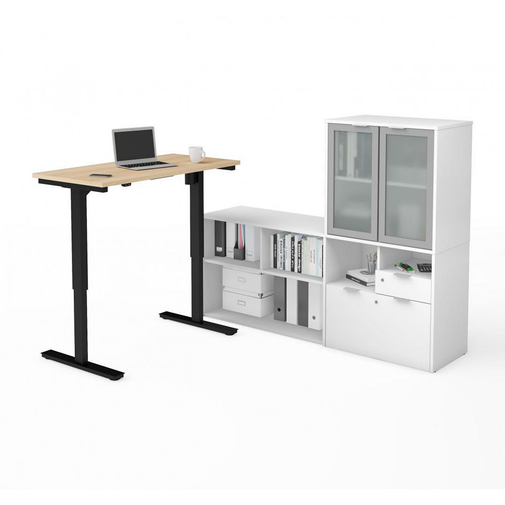 Bestar i3 Plus Height Adjustable L-Desk with Frosted Glass Door Hutch in Northern Maple & White