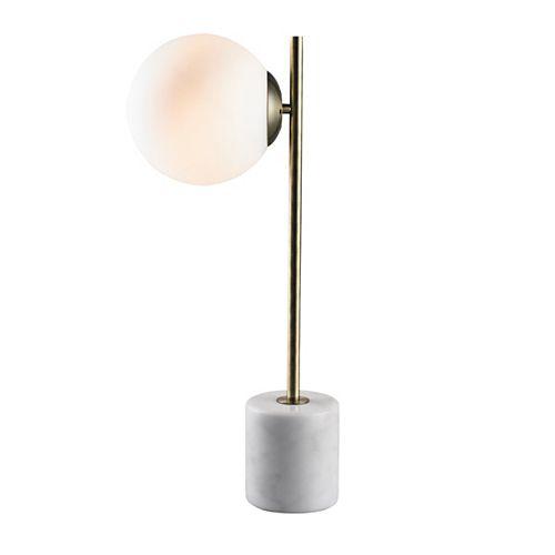 22'' Lampe de table avec base en marbre et abat-jour en verre