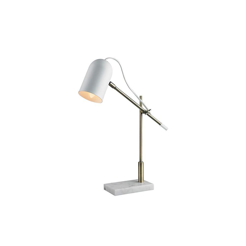 L2 Lighting Lampe de bureau en métal blanc mat avec base en marbre blanc
