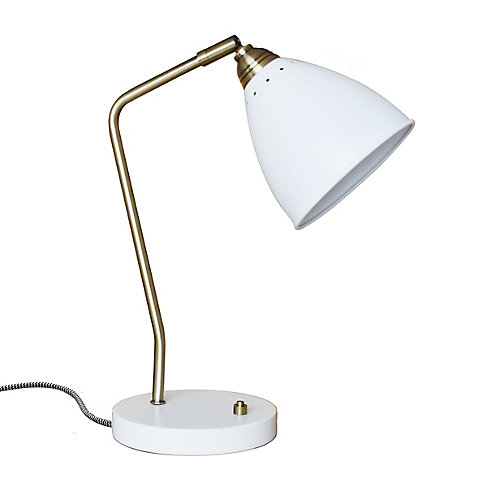 Lampe de bureau en métal blanc