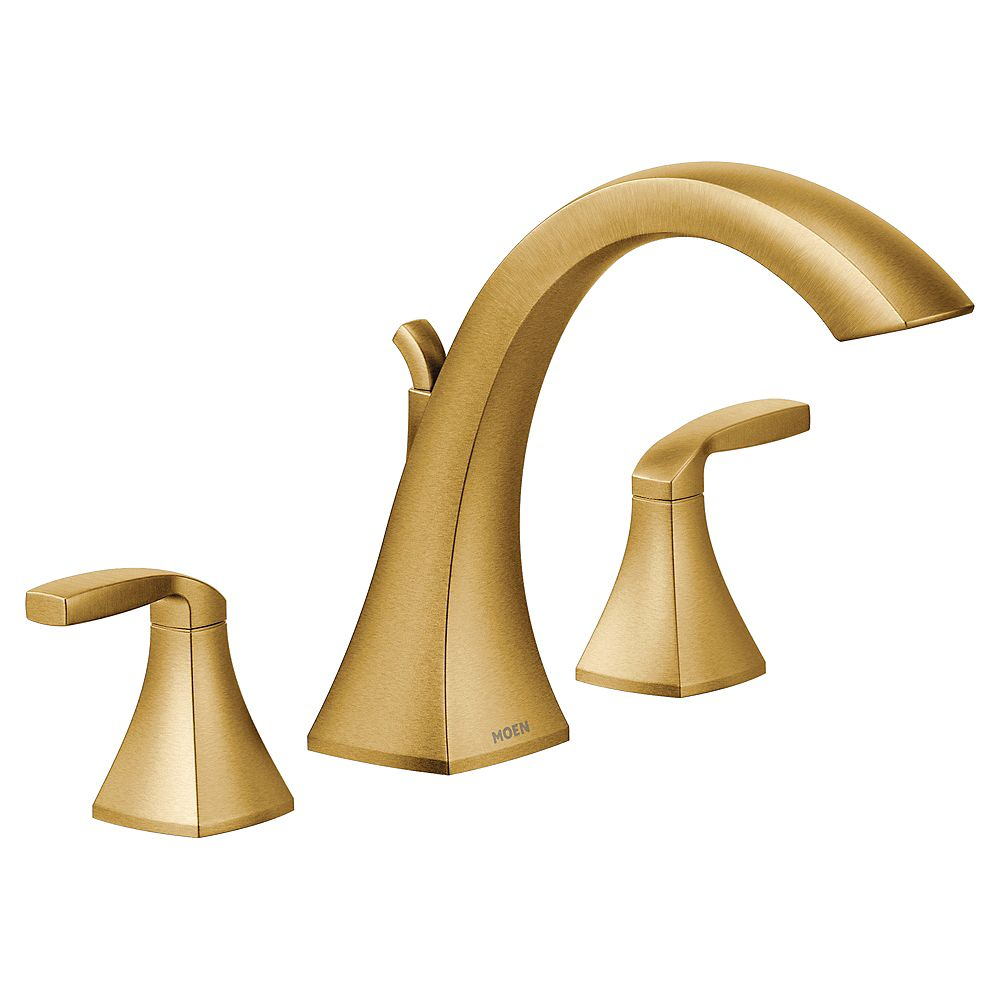 MOEN Voss 2-Handle Deck-Mount High-Arc Roman Tub Faucet Trim Kit in Brushed Gold (Valve Not Included)
