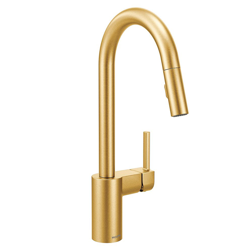 MOEN Align Single-Handle Pull-Down Sprayer Kitchen Faucet with Reflex and Power Clean in Brushed Gold