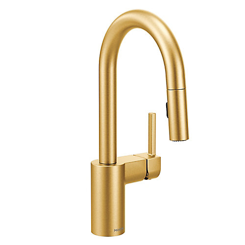 Align Single Handle Pulldown Bar Faucet with Reflex in Brushed Gold