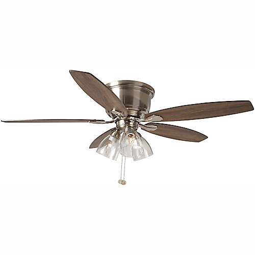 Stoneridge 52 inch LED Indoor Brushed Nickel Hugger Ceiling Fan with Light Kit