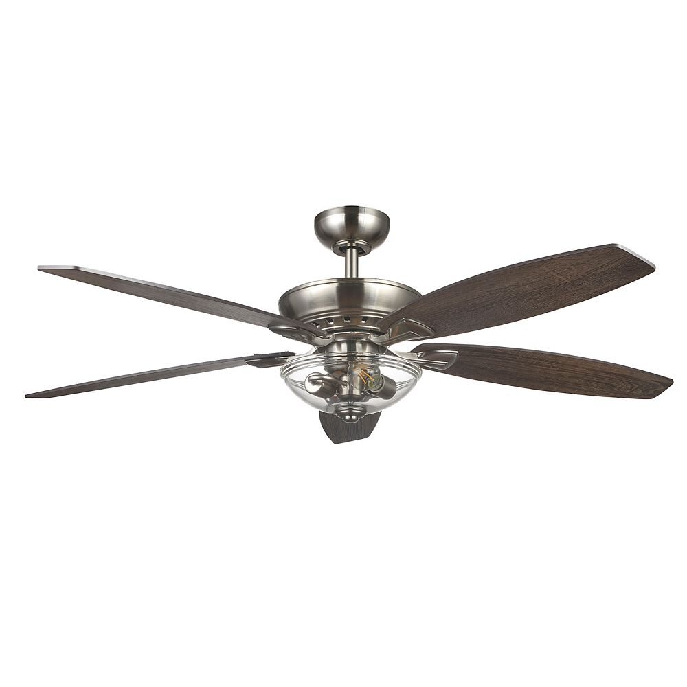 Connor 32 inch LED Brushed Nickel Dual Mount Ceiling Fan with Light Kit and  Remote Control
