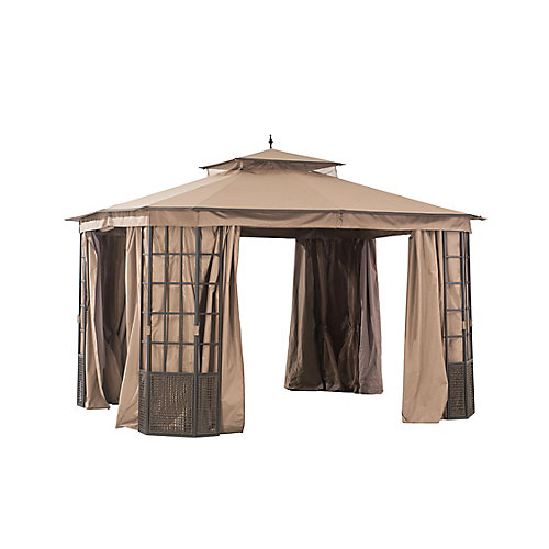 Brenner 10 ft. x 12 ft. Gazebo with Mosquito Netting and Curtain