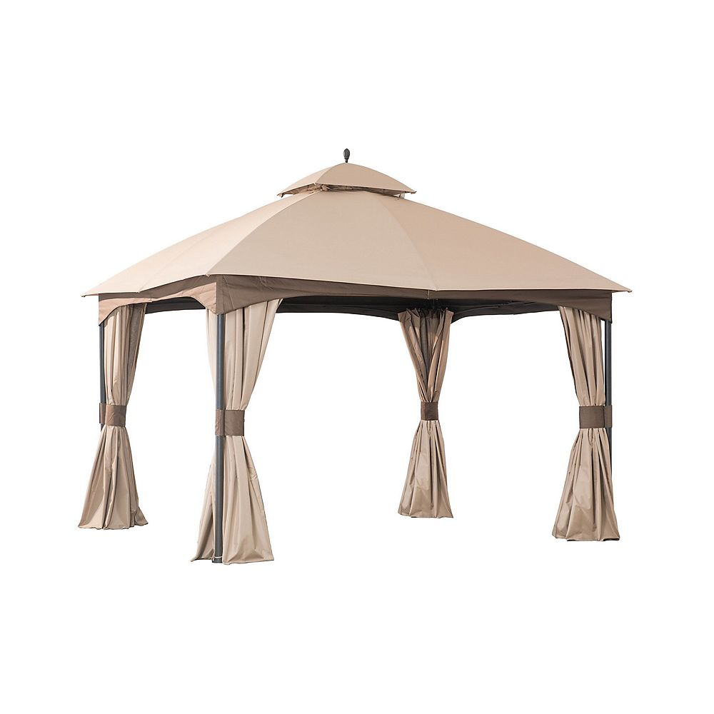 Hampton Bay 10 ft. x 12 ft. Turnberry Outdoor Patio Gazebo with Mosquito Netting and Private Curtain