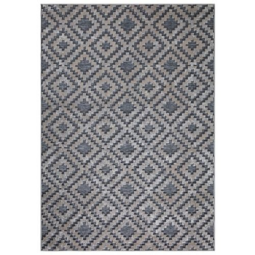 Samba Squares Gray 5 ft. 3-inch x  7 ft. 3-inch Outdoor Rug