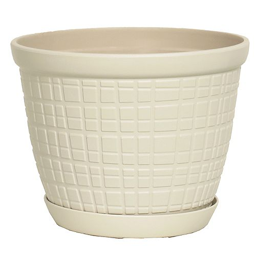 HDG Adelyn 8-inch Round Plastic Planter with Saucer in Glossy White