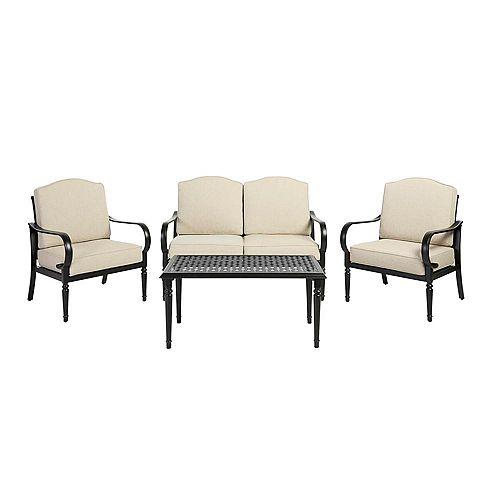 Ensemble de sièges de jardin avec coussins réguliers havane Laurel Oaks, acier brun, 4 pièces