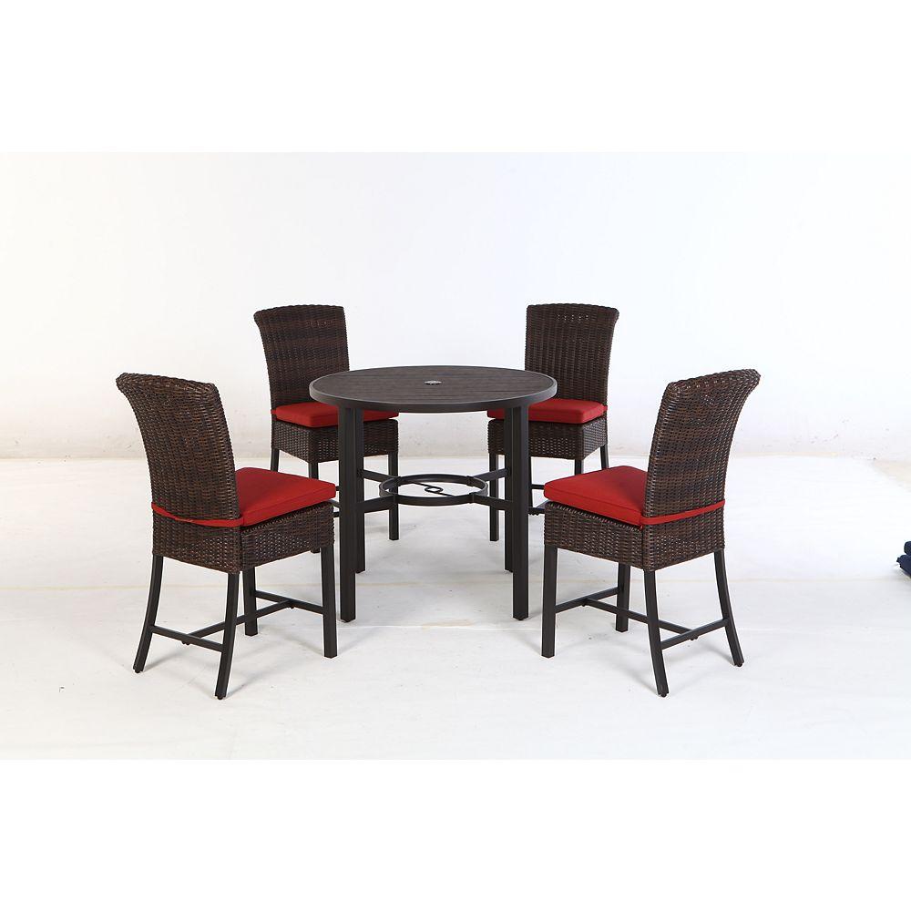 Hampton Bay Harper Creek Dark Brown 5-Piece Wicker Outdoor Bar Height Dining Set with Chili Cushions
