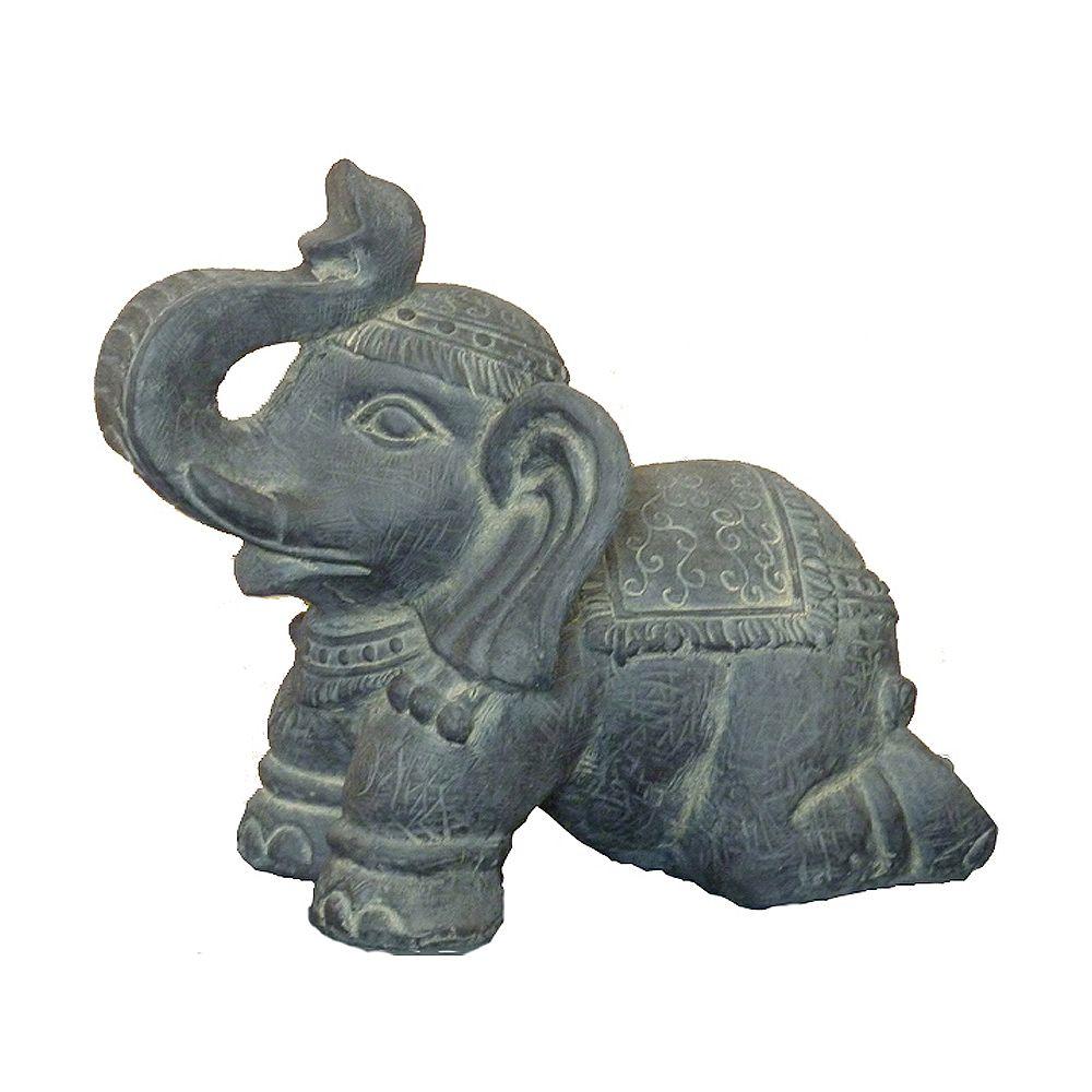Hi-Line Gift Statue d'éléphant à genoux Grise