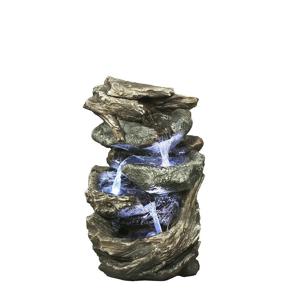 Hi-Line Gift Fontaine 'bûches de pierre' avec lumières DEL