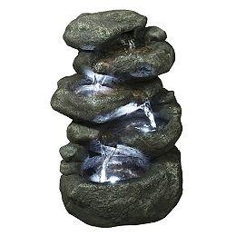 Fontaine éclairée en forme de roche à 5 niveaux