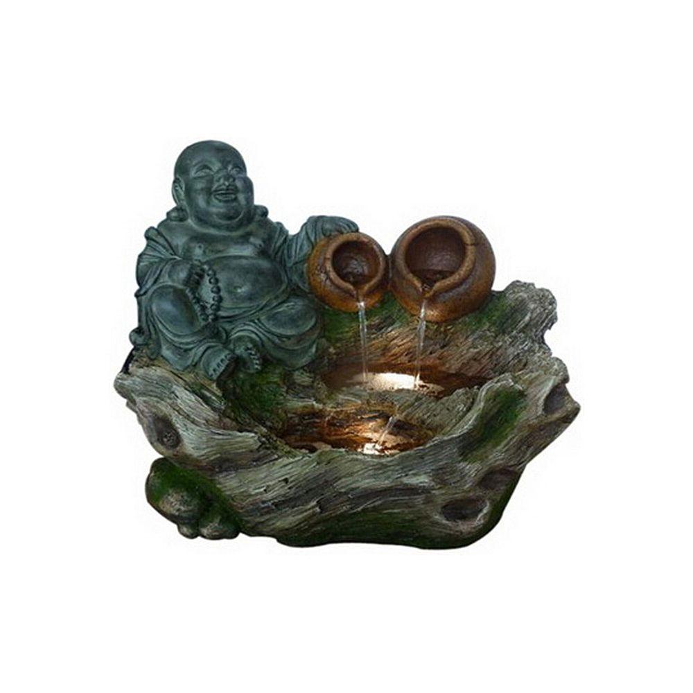 Hi-Line Gift Fontaine  Bouddha assis avec 2 pots qui verse de l'eau