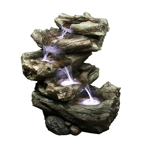 4-Level Logs with LED Fountain