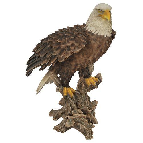 Hi-Line Gift Bald Eagle Standing on Stump Statue