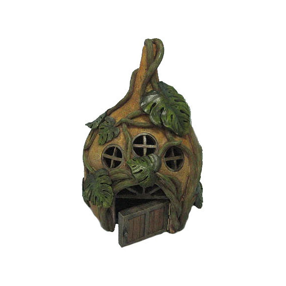 Hi-Line Gift Fairy Garden House with Three Windows and Vines Statue