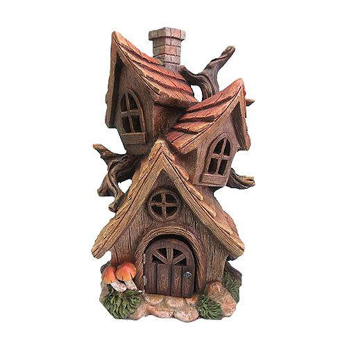 Hi-Line Gift Fairy Garden Tri-House with Chimney
