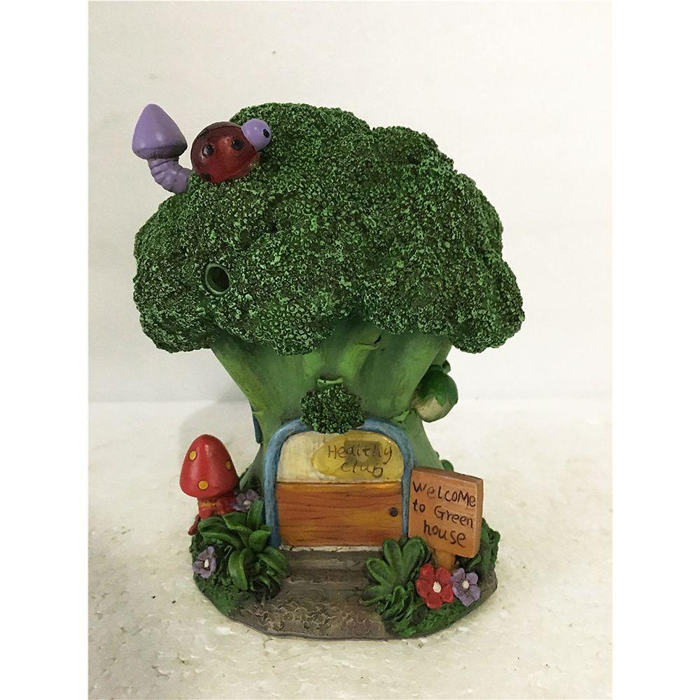 Hi-Line Gift Maison féérique de jardin 'Maison brocoli' Fonctionne à piles