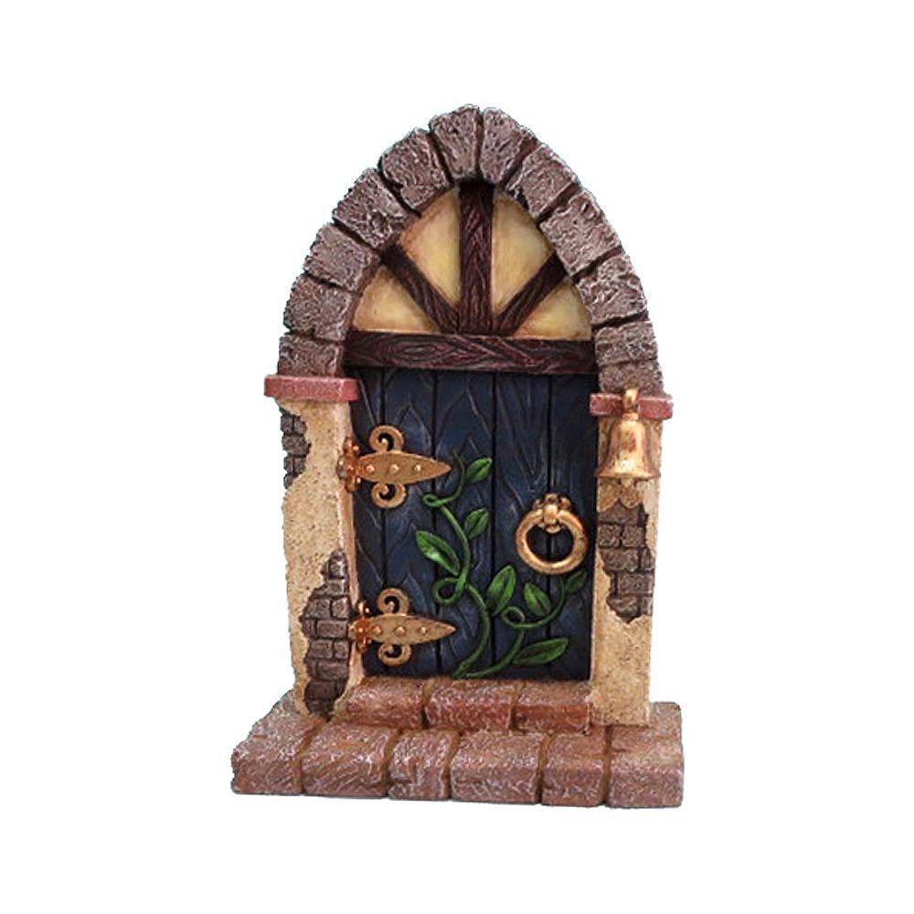 Hi-Line Gift Porte  bleue avec cloche et vignes pour jardins miniatures  féérique
