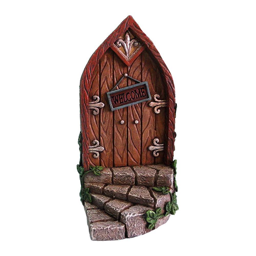 Hi-Line Gift Fairy Mini Garden Brown Door with Welcome Sign