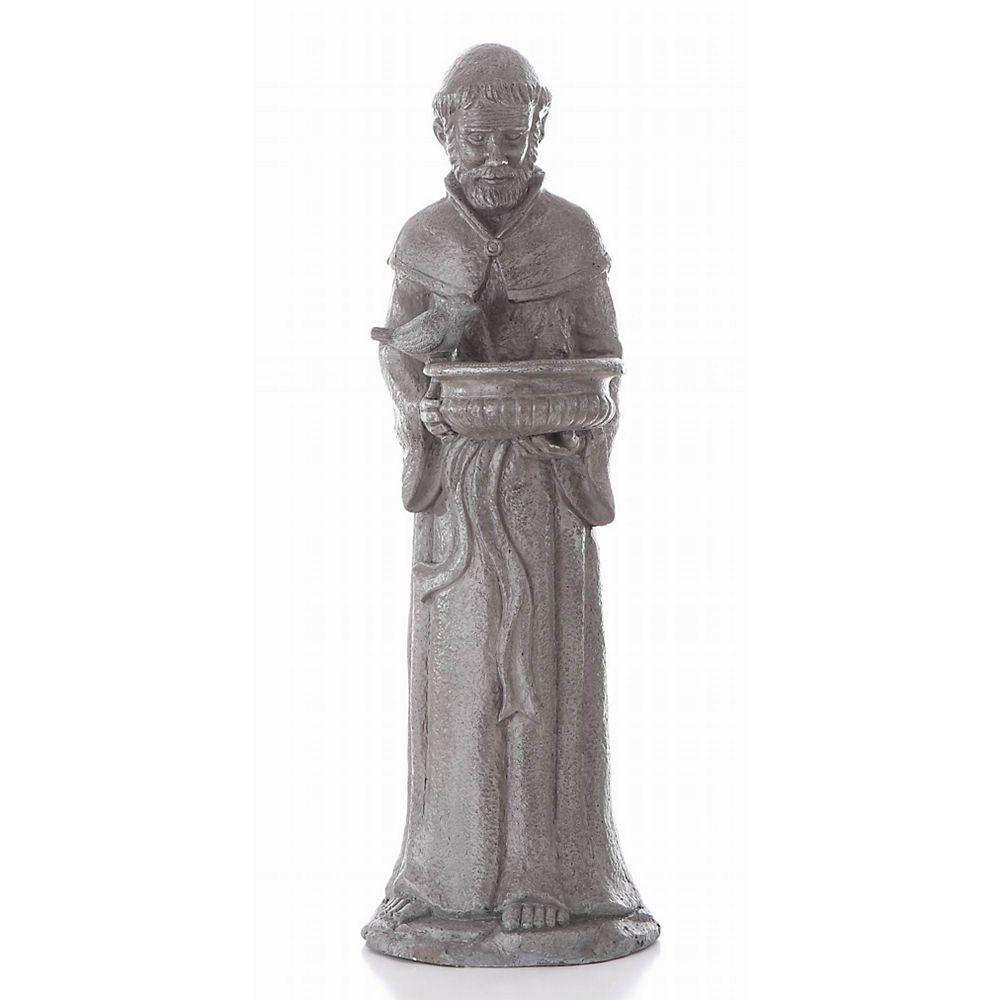 Hi-Line Gift Statue de Saint-François tenant un bol sur lequel est perché un oiseau